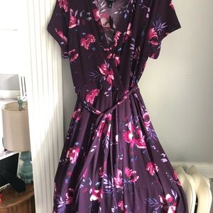 NWT. Purple floral wrap dress with tie.